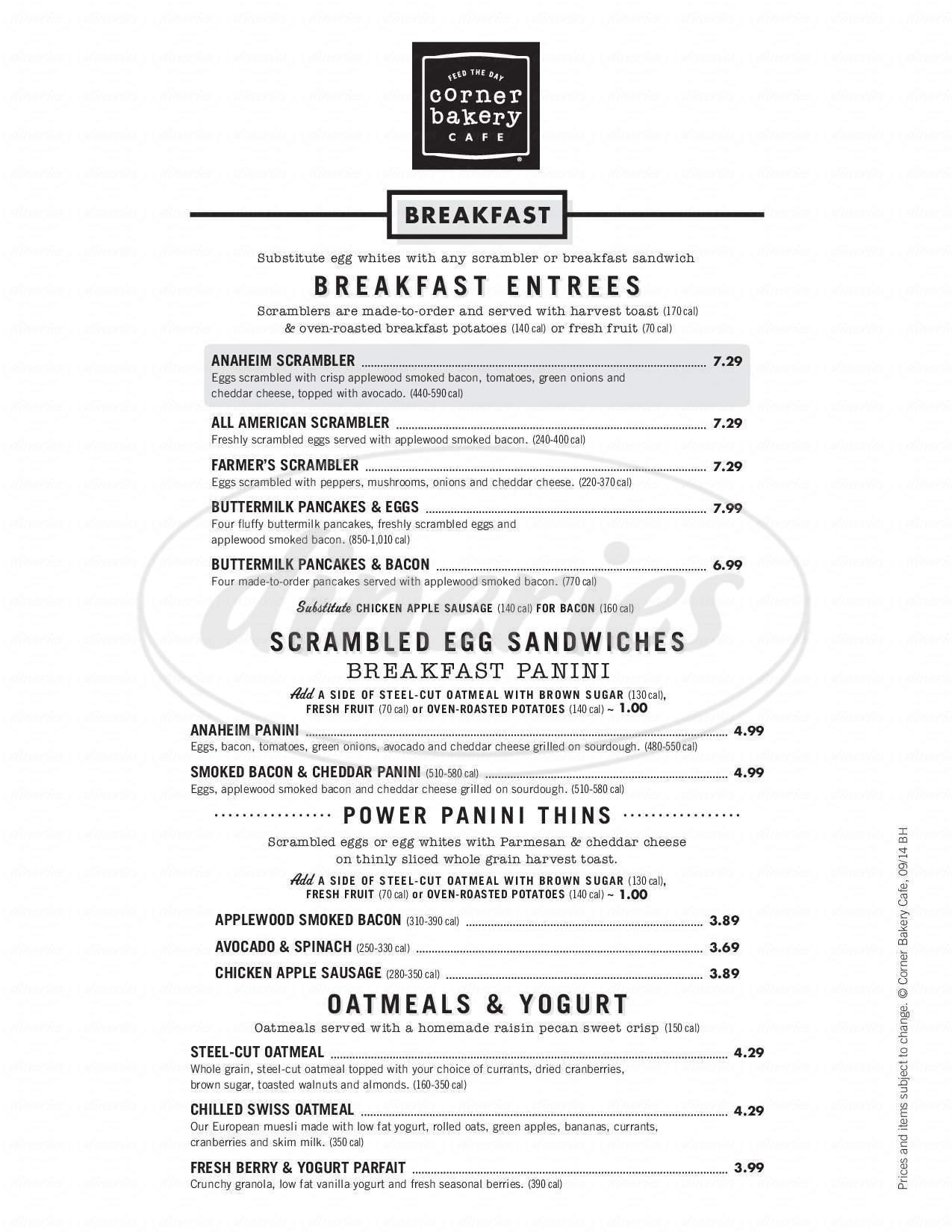 menu for Corner Bakery Cafe
