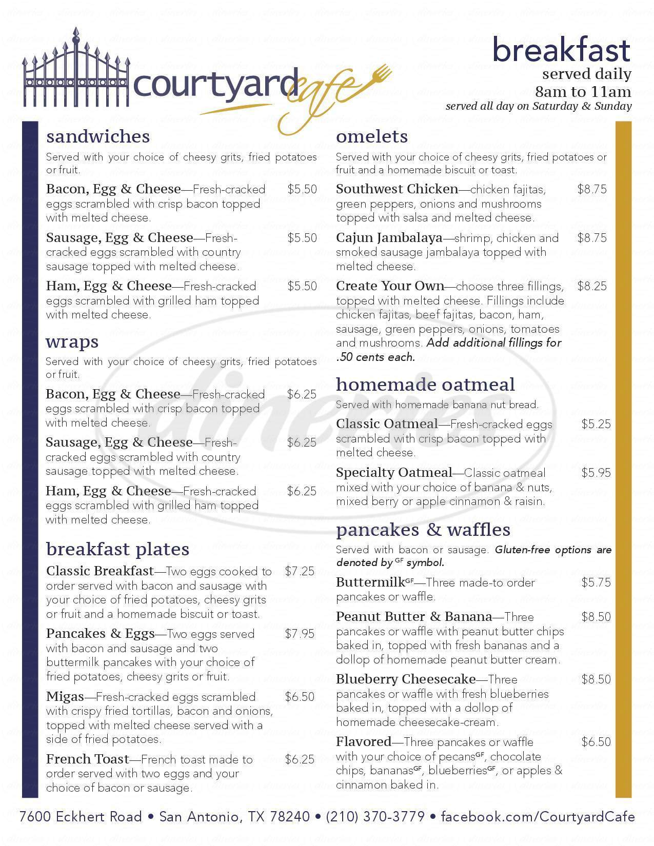 menu for Courtyard Cafe
