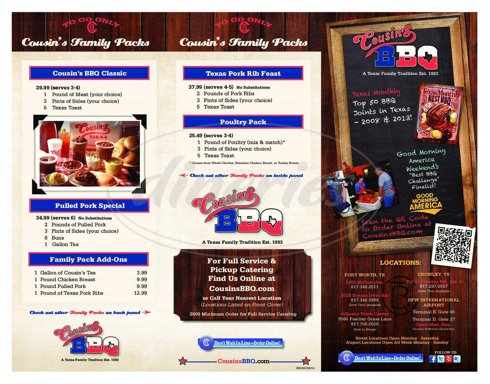 menu for Cousin's Bar-B-Q