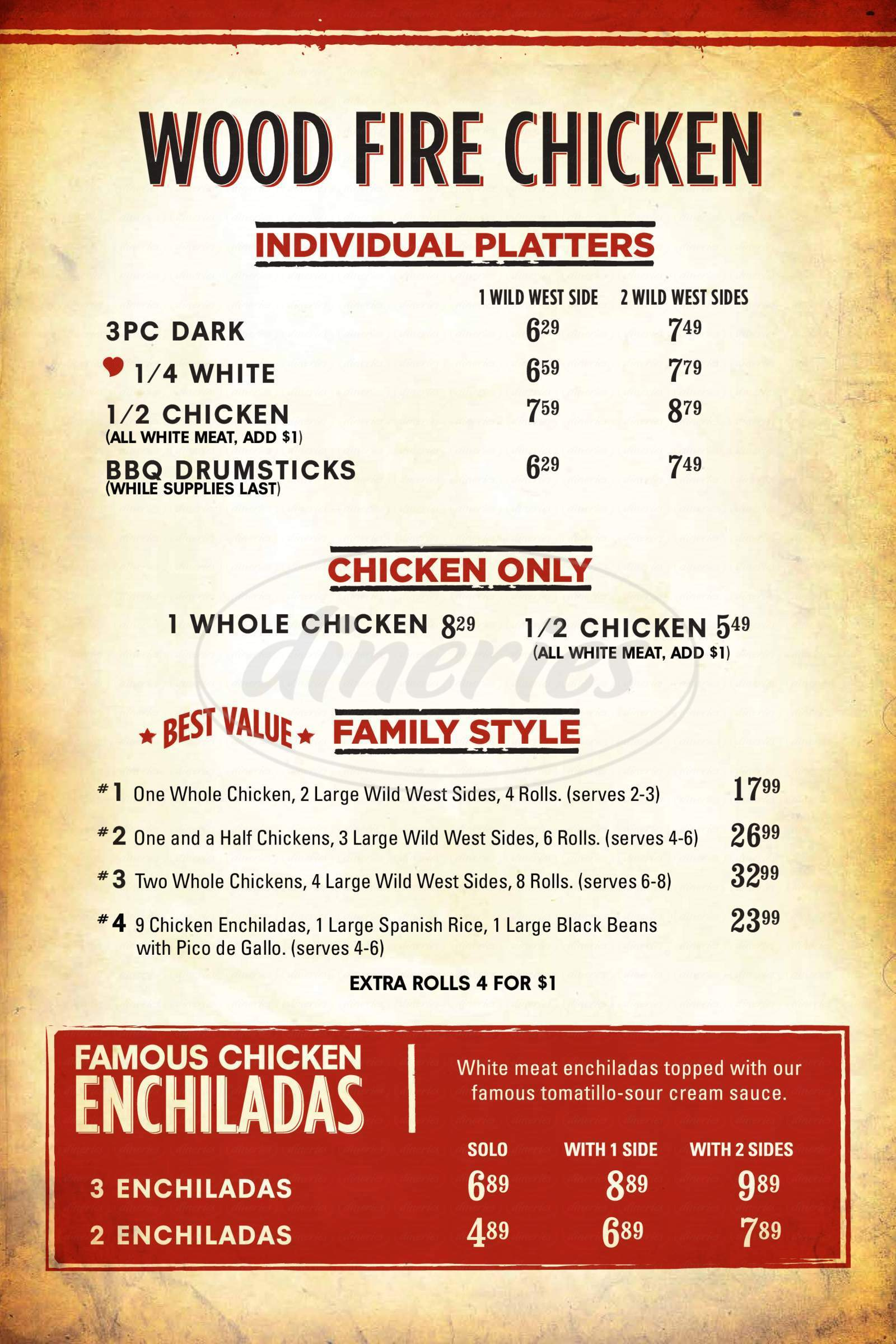 menu for Cowboy Chicken