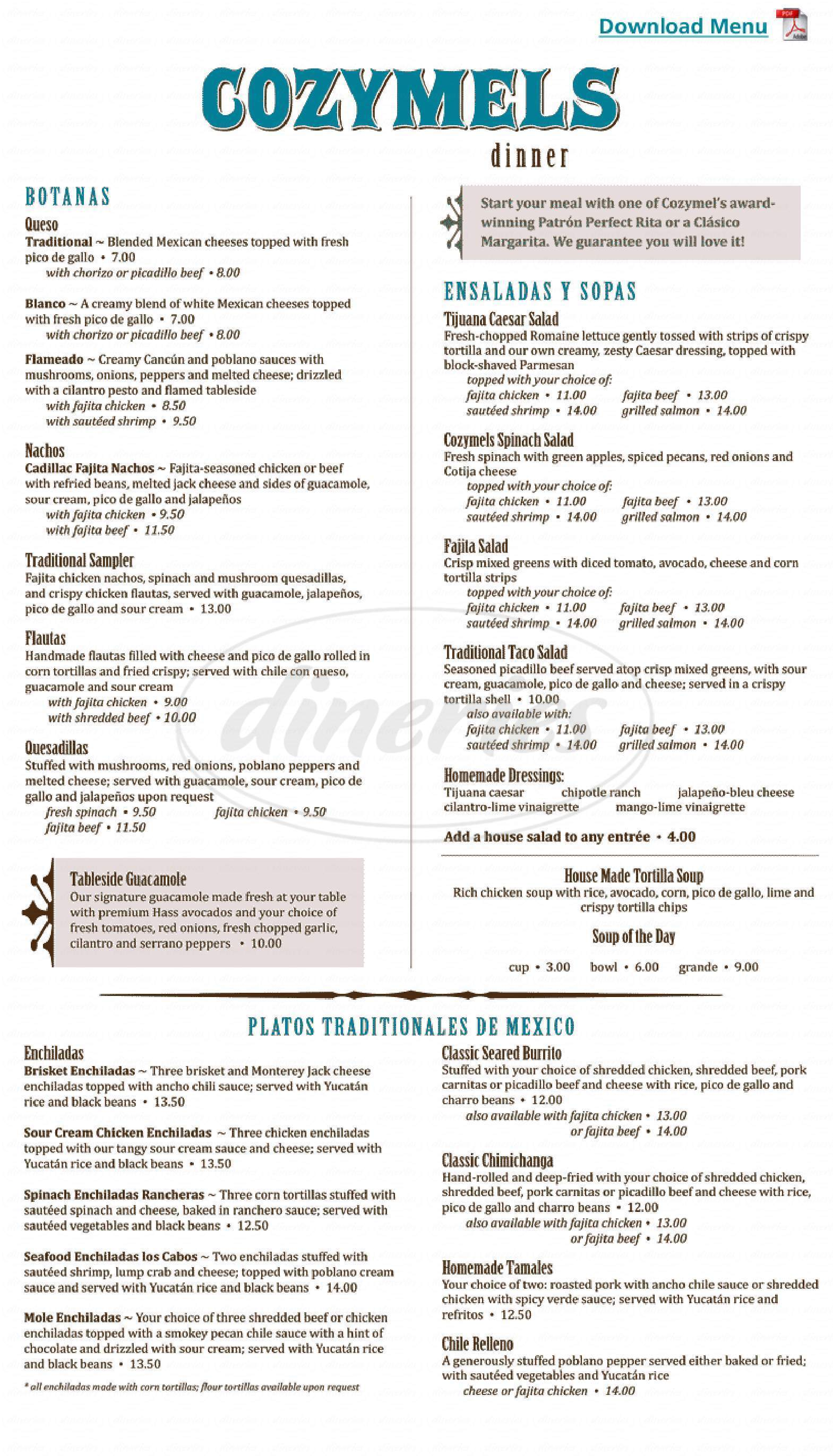 menu for Cozymel's Mexican Grill