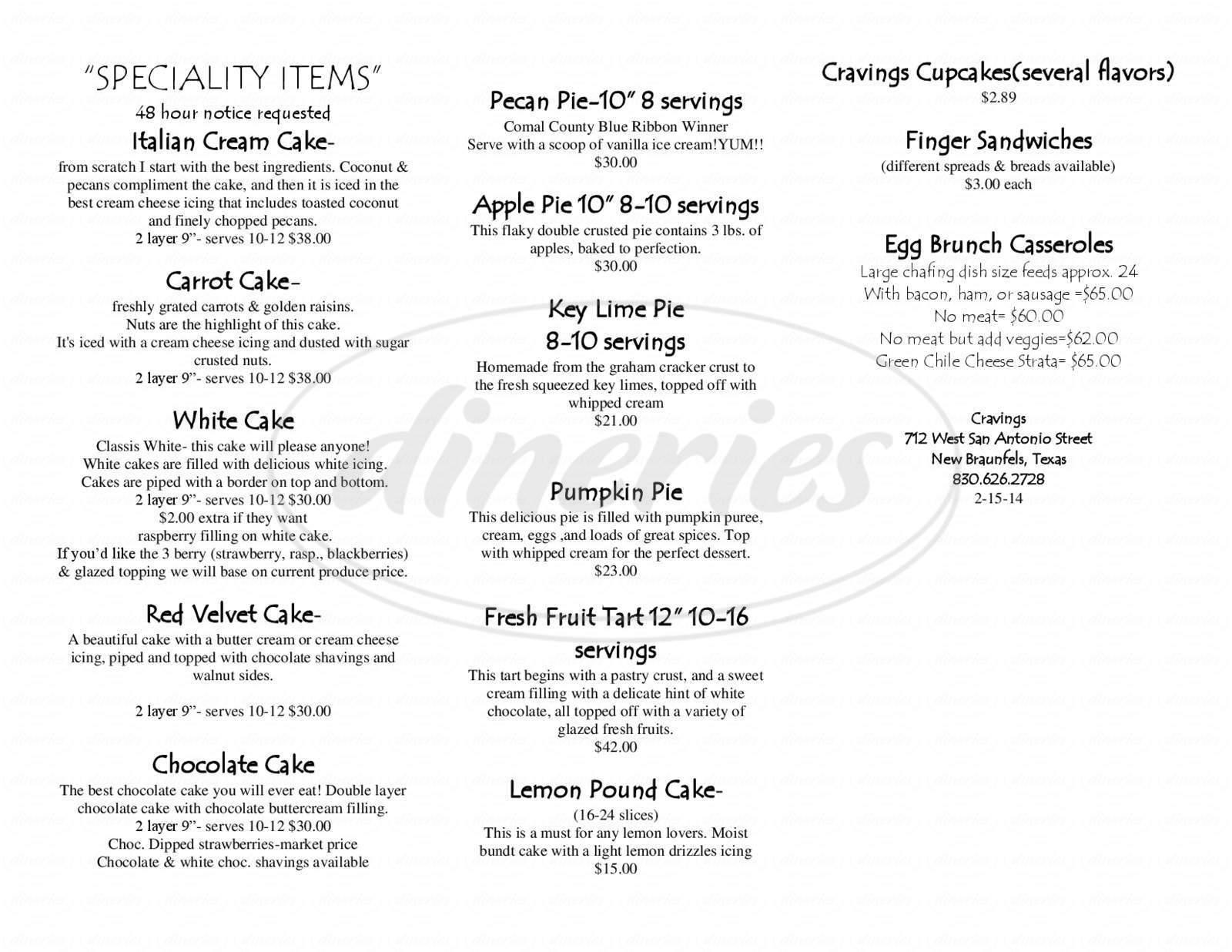 menu for Cravings