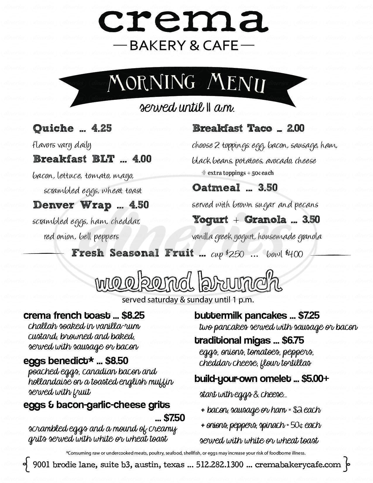 menu for Crema Bakery & Cafe