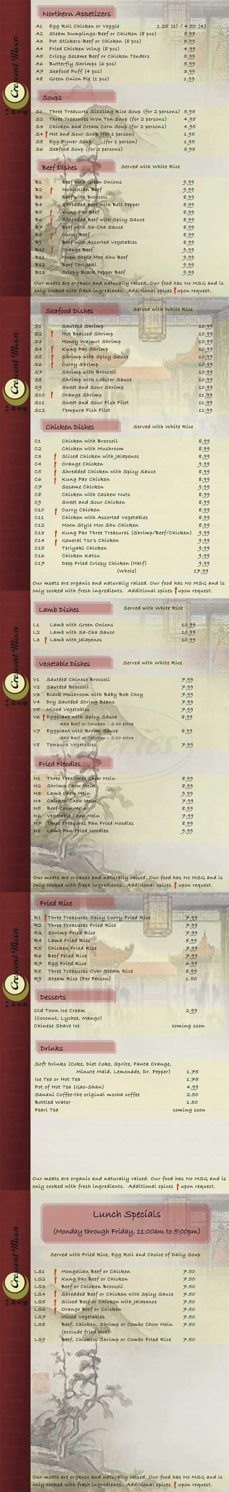 menu for Crescent Moon