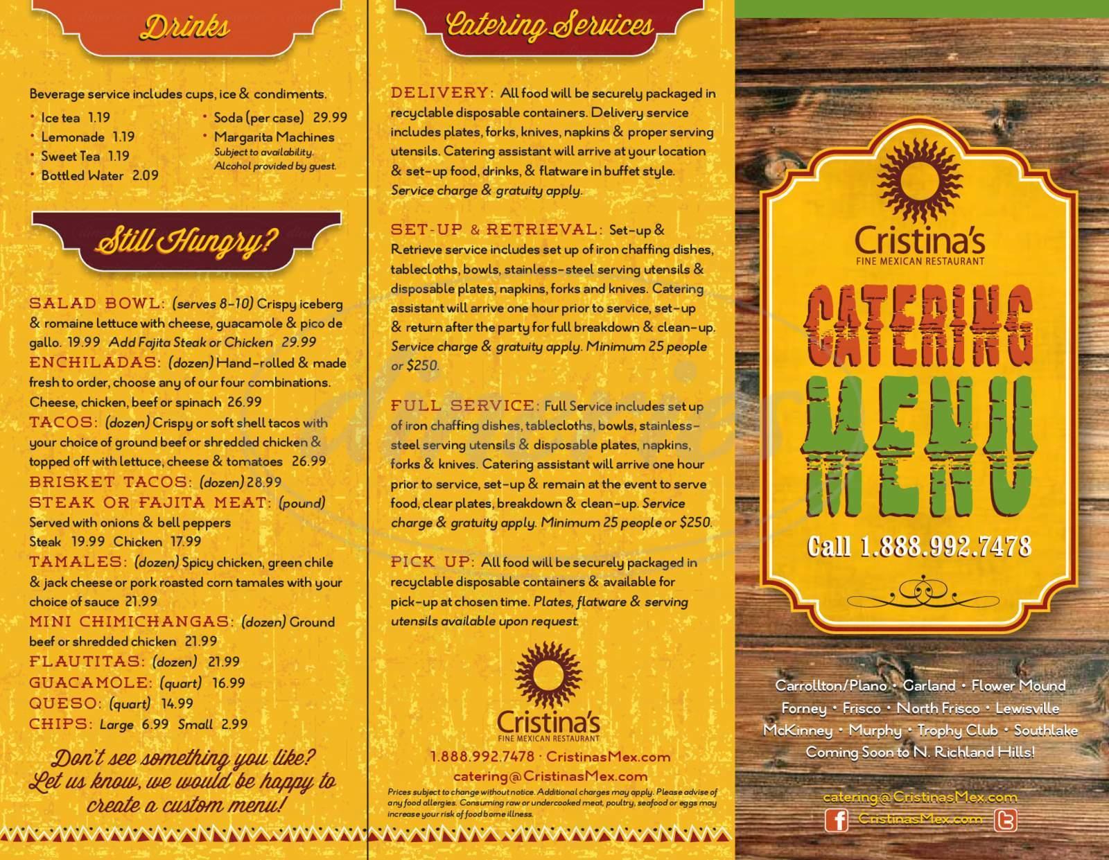 menu for Cristina's Fine Mexican Restaurant