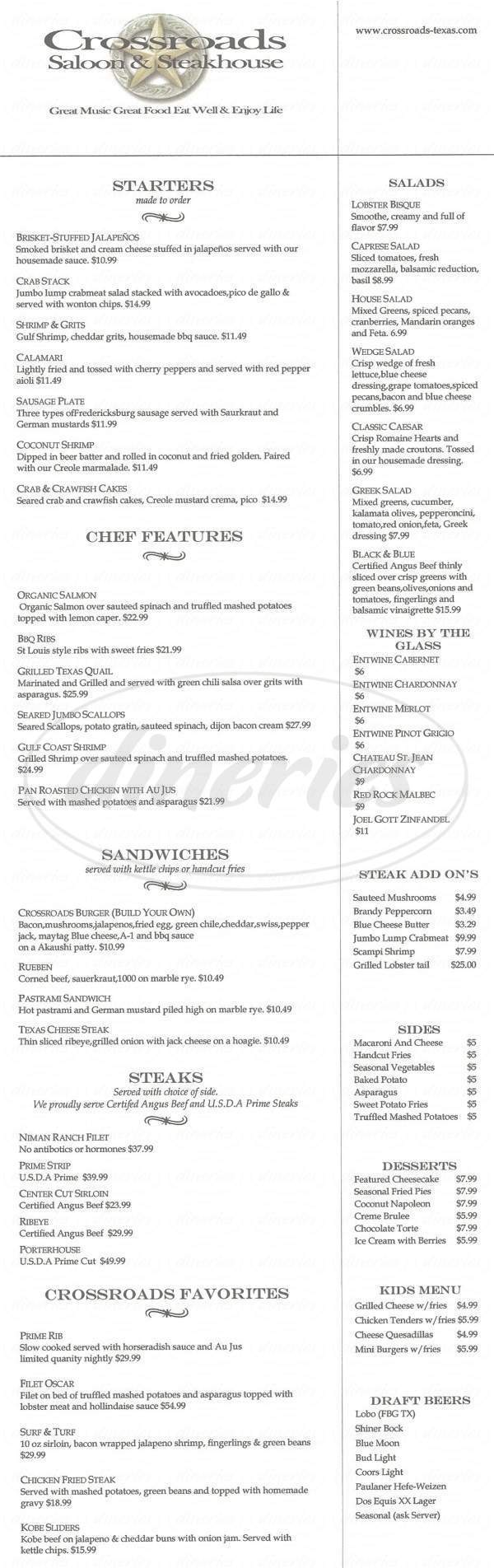 menu for Crossroads Saloon & Steakhouse