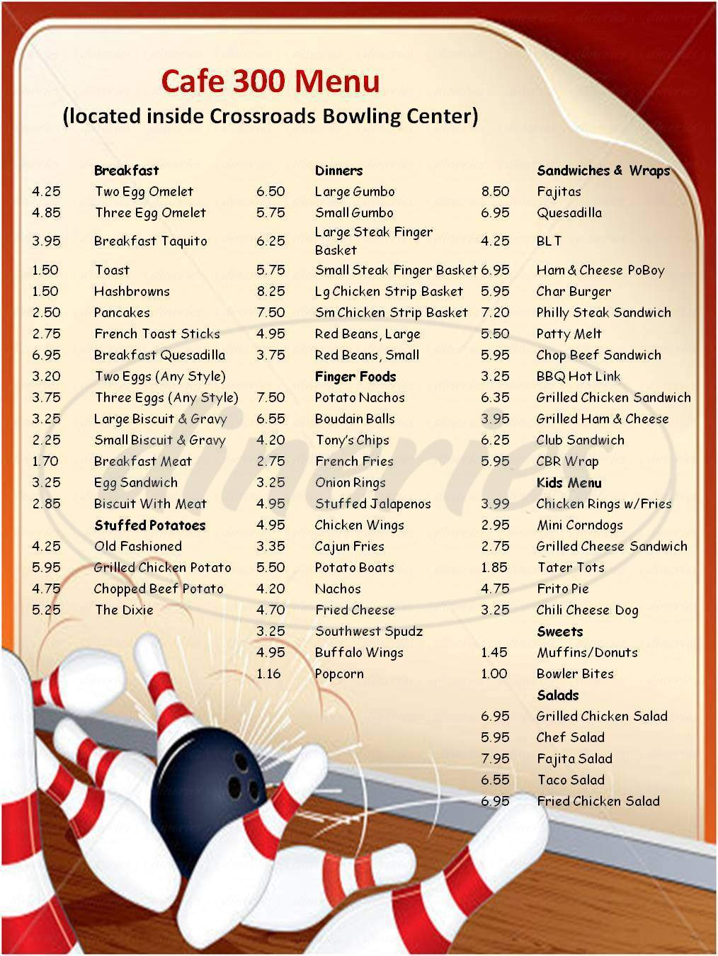 menu for Crossroads Bowling Center