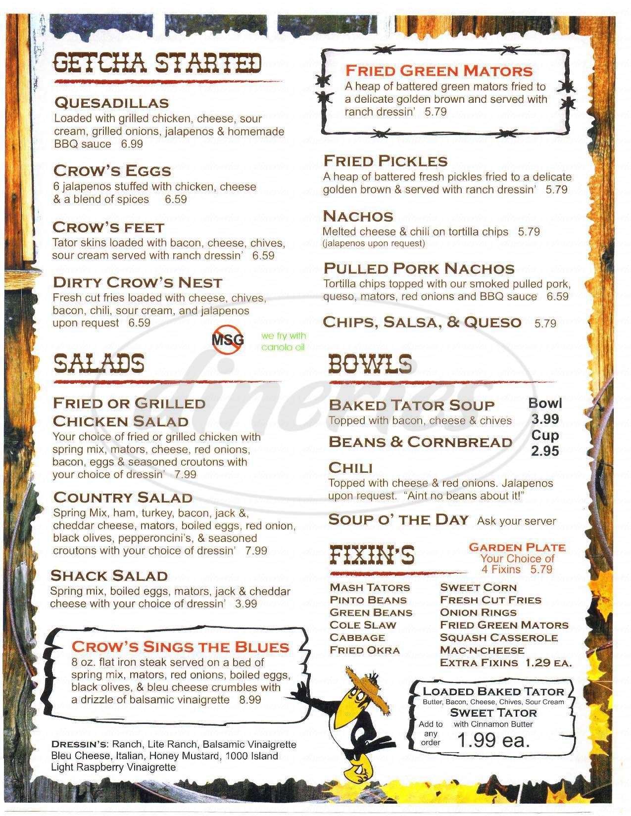 menu for Crow's Country Cafe