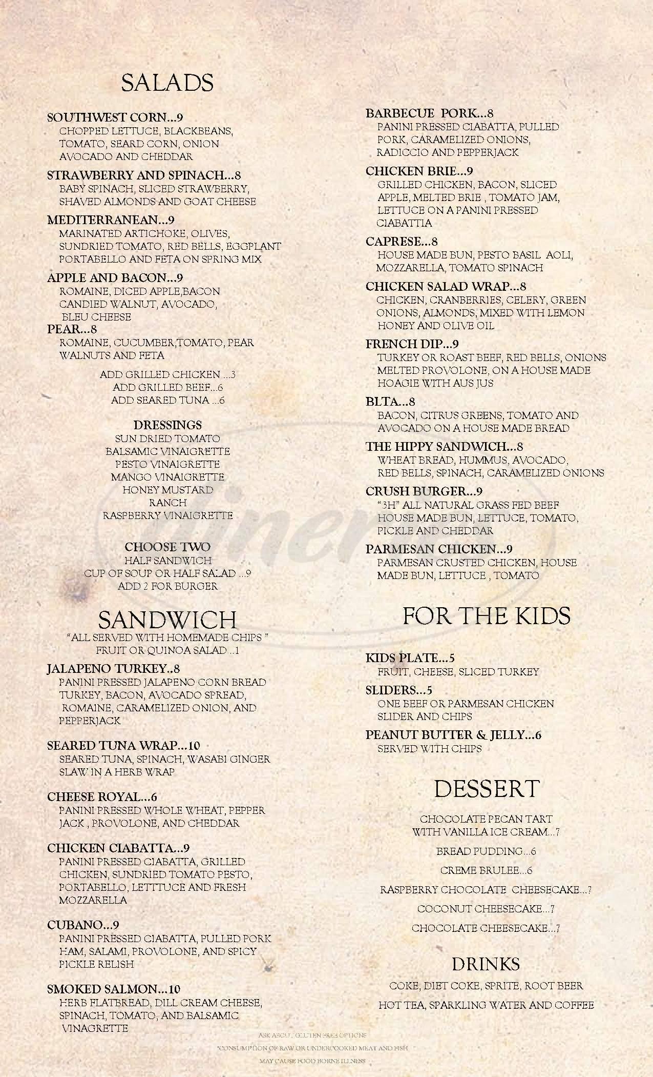menu for Crush Wine Bar & Deli