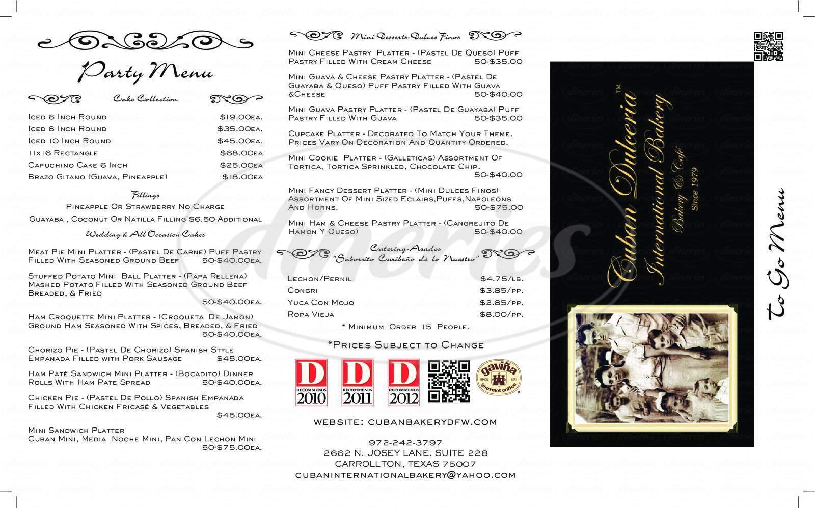menu for International Bakery