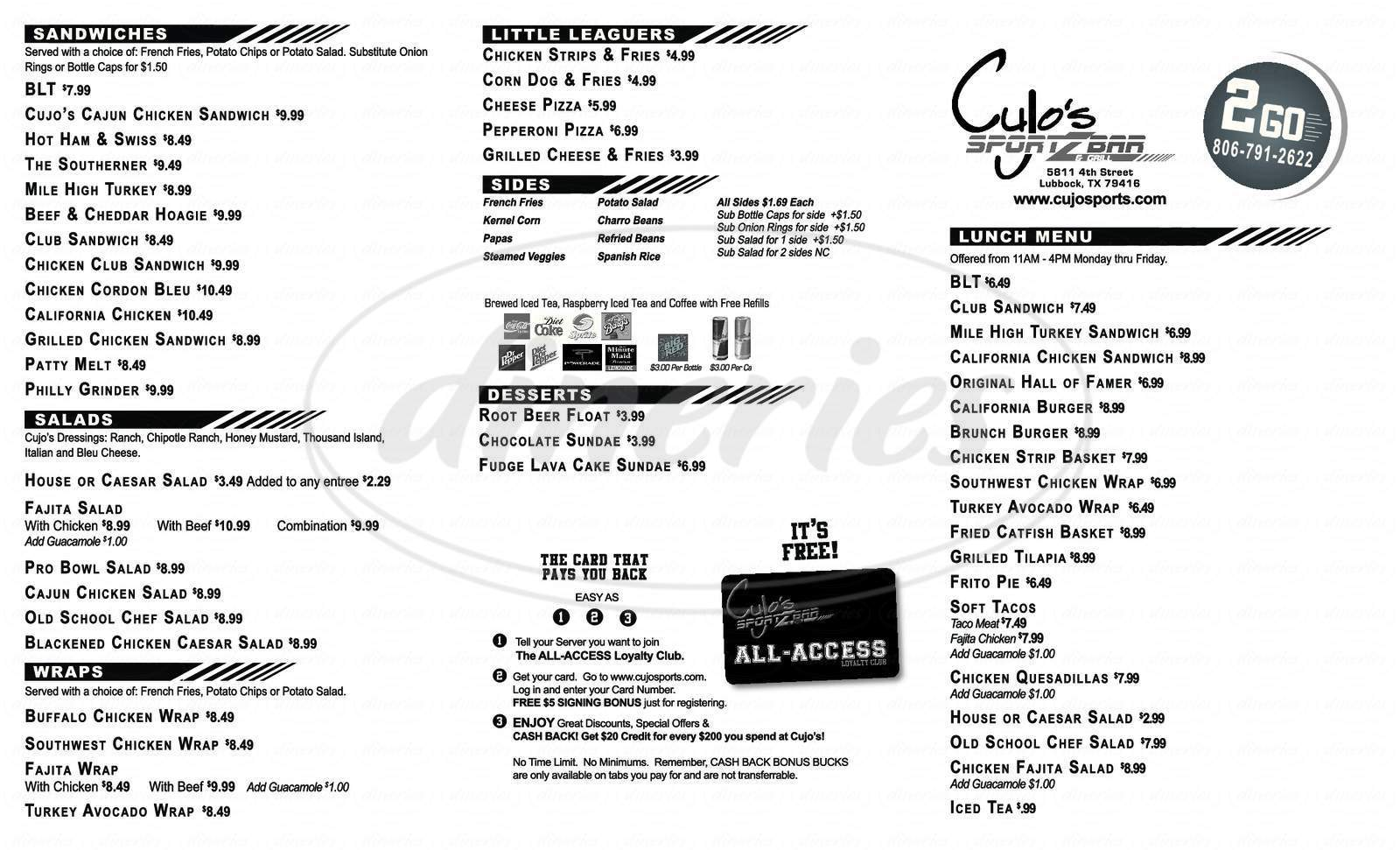 menu for Cujo's Sports Bar and Grill