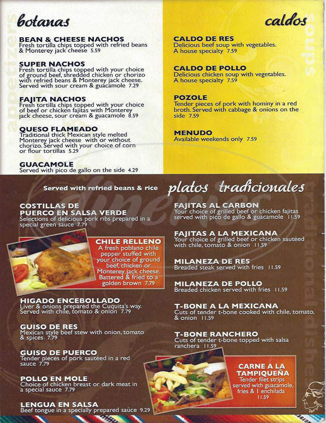 menu for Cuquita's Restaurant
