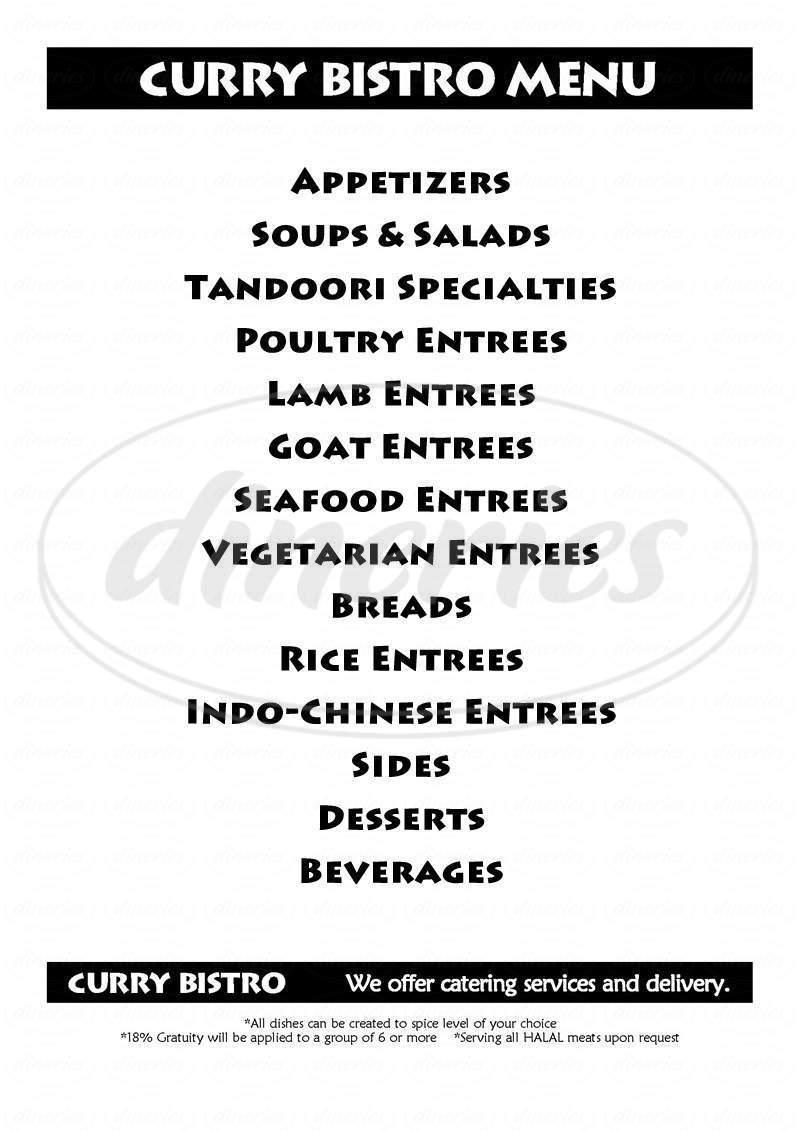 menu for Curry Bistro
