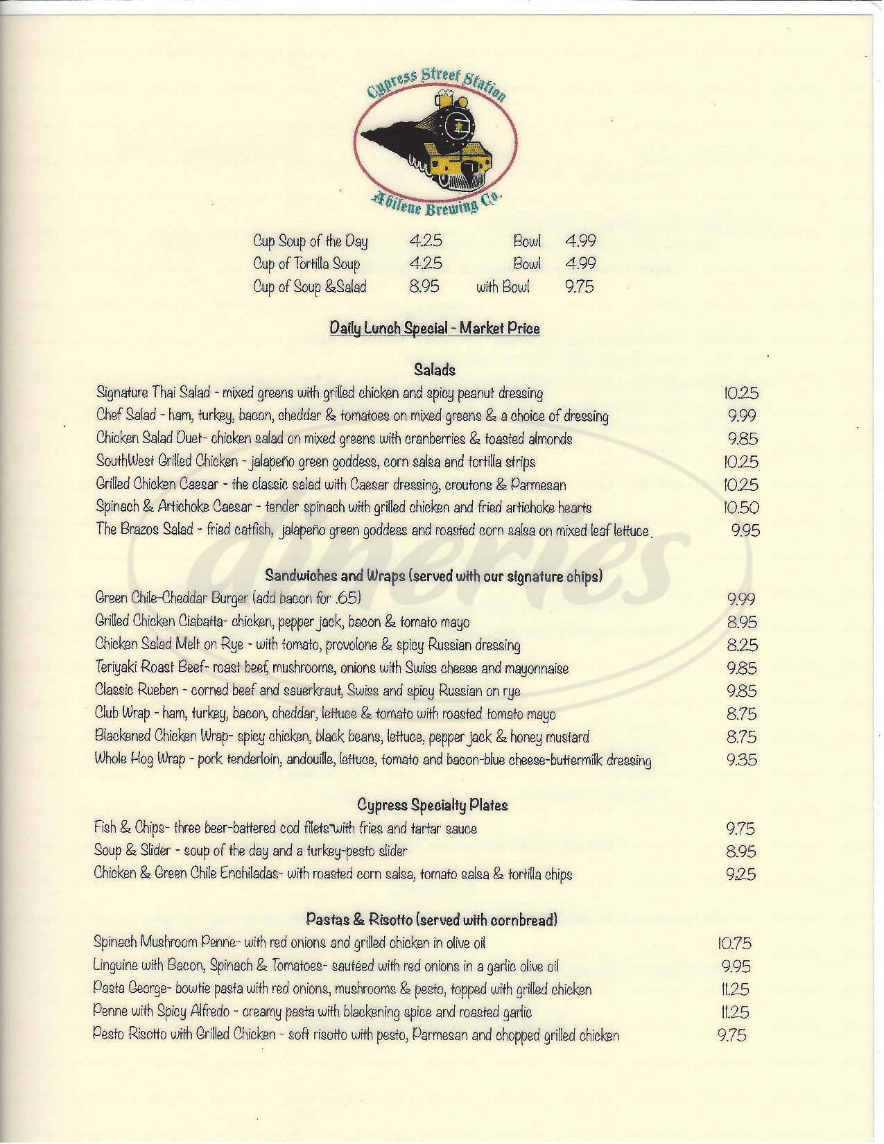 menu for Cypress Street Station