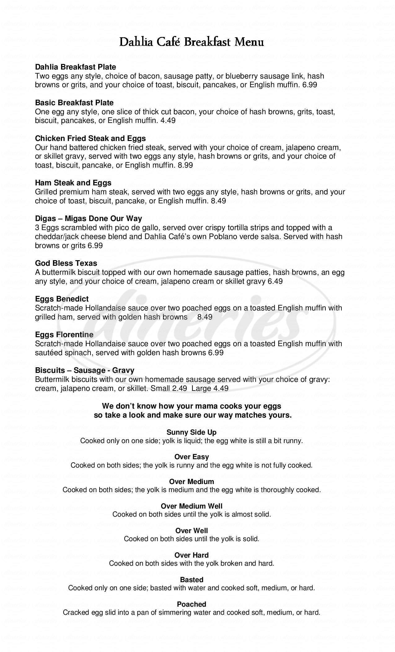 menu for Dahlia Cafe