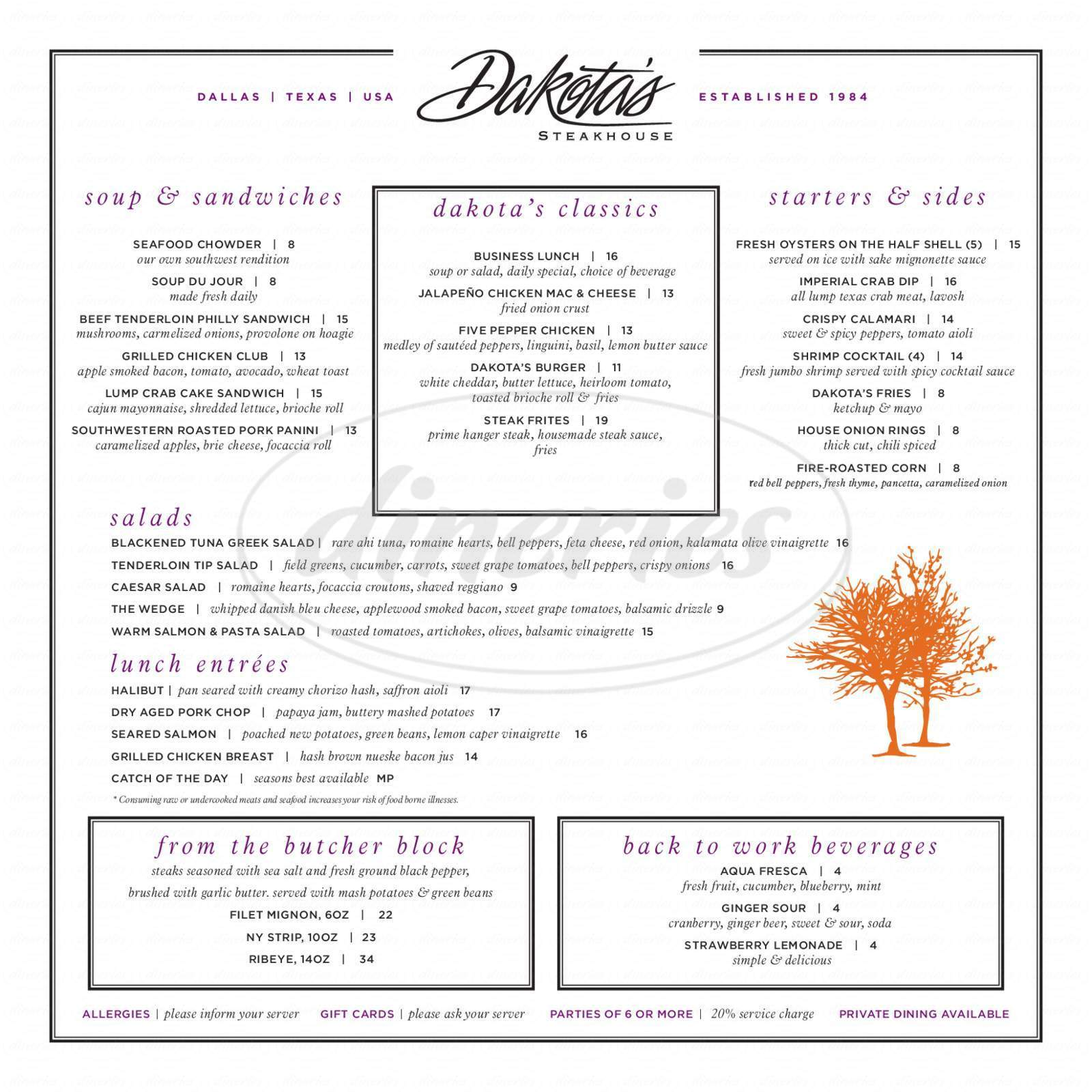 menu for Dakota's Restaurant