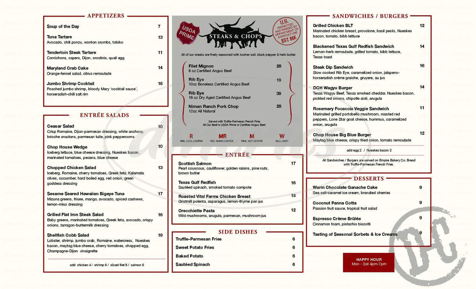 menu for Dallas Chop House