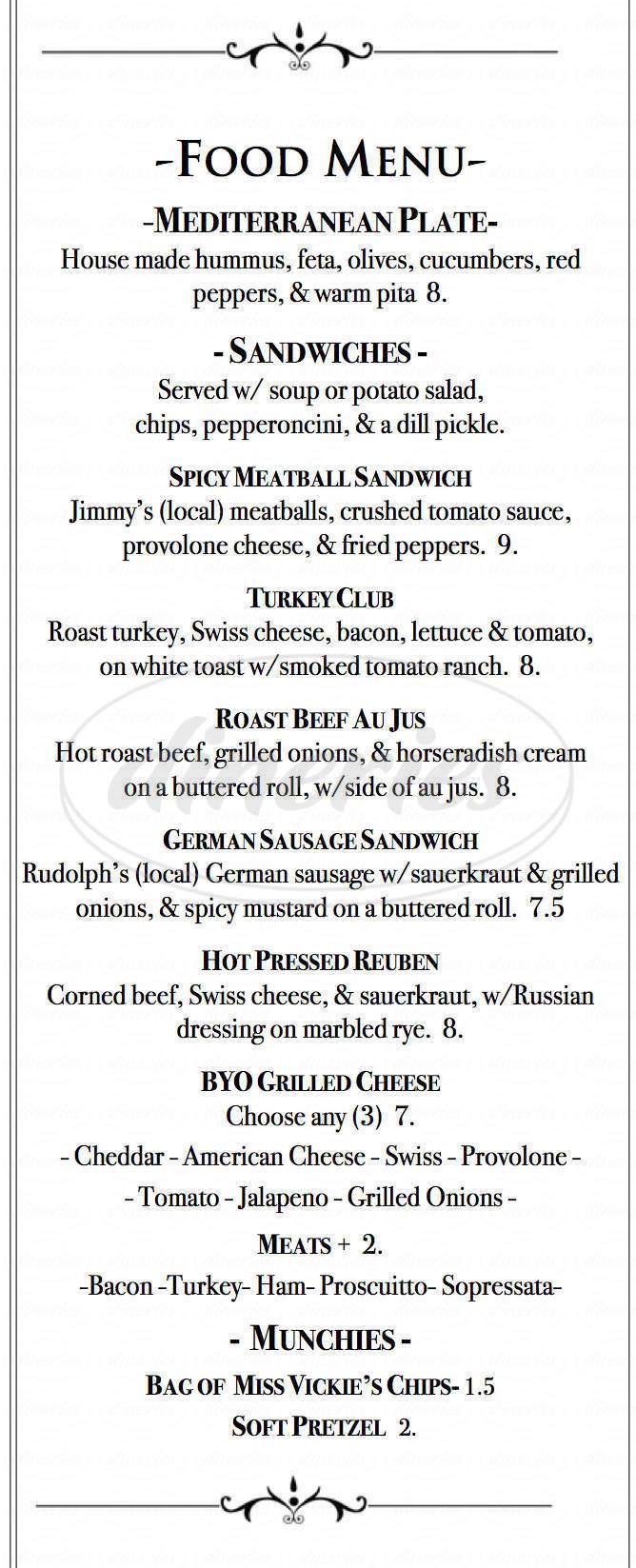 menu for The Dubliner