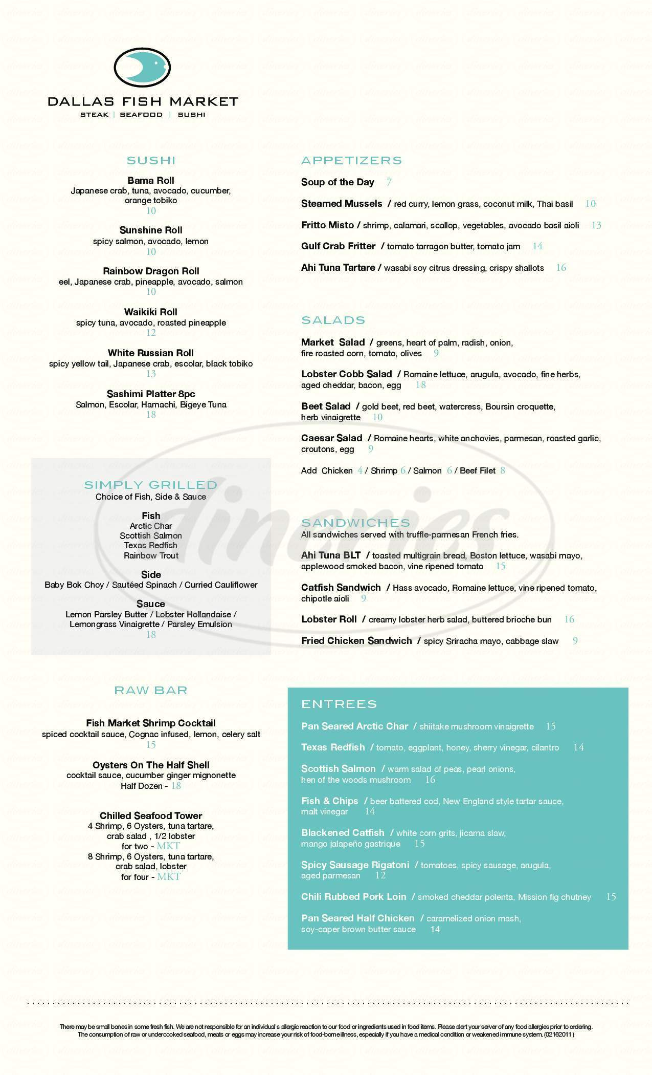 menu for Dallas Fish Market