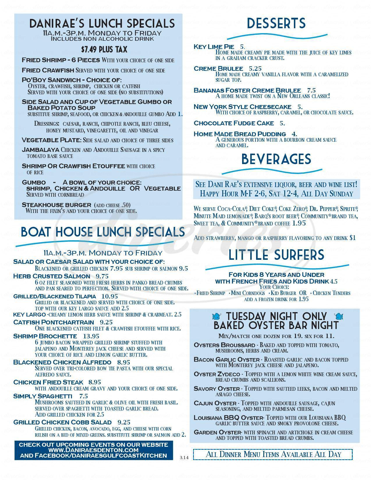 menu for Dani Rae's Gulf Coast Kitchen