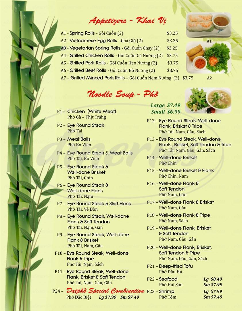 menu for Datpho