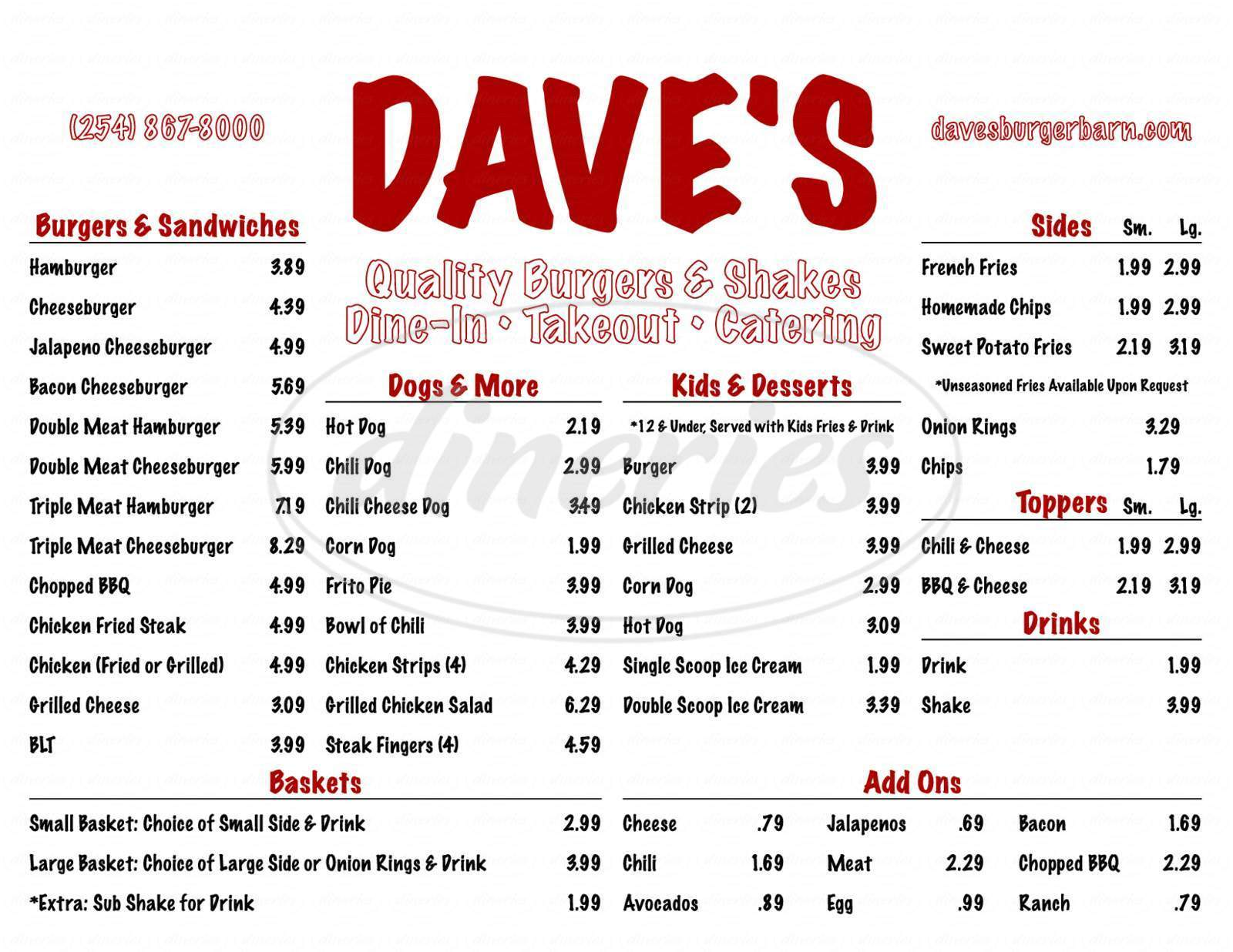 menu for Dave's Burger Barn