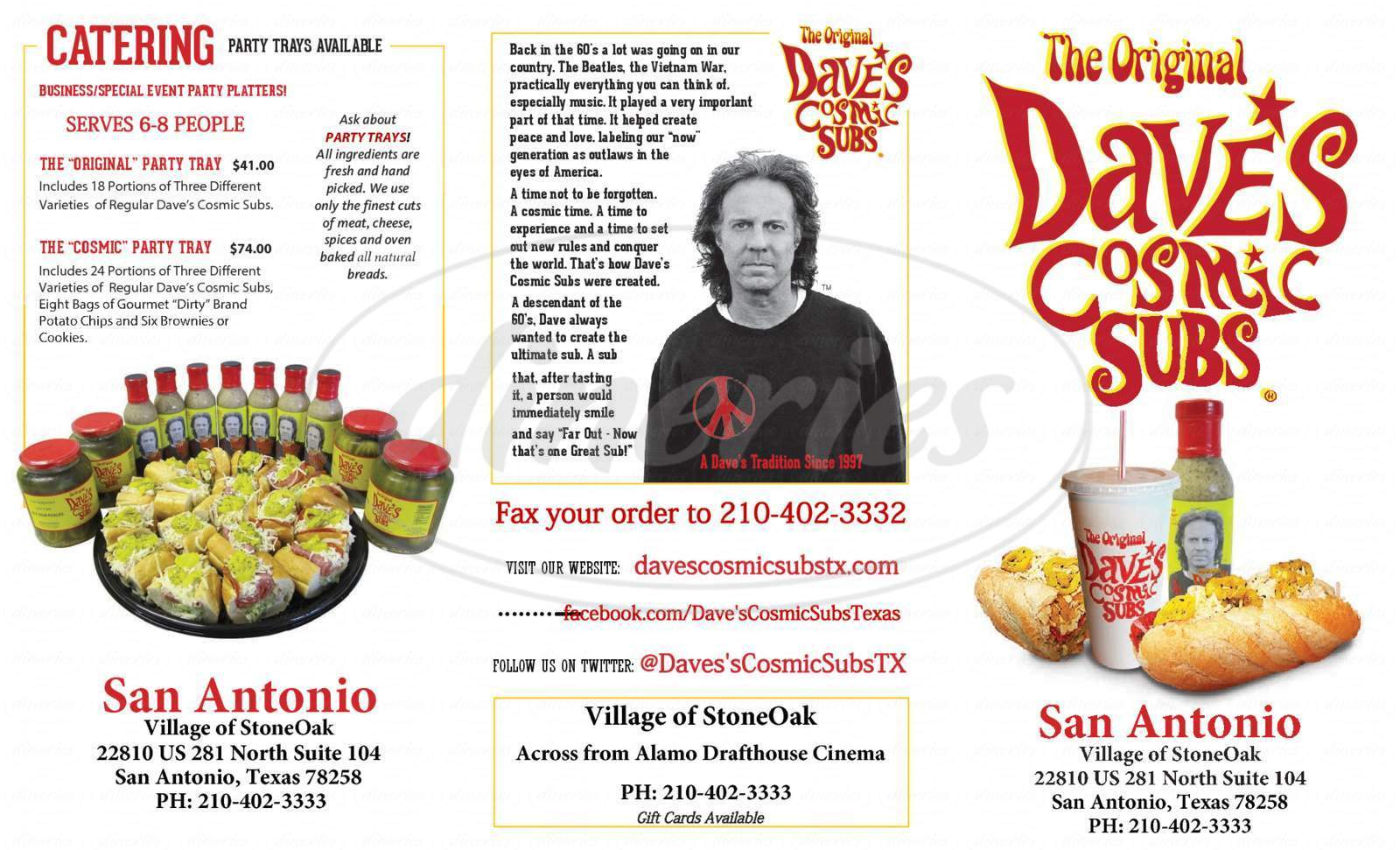 menu for Dave's Cosmic Subs