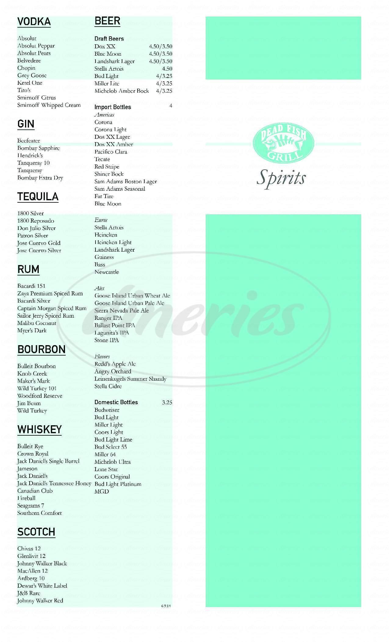 menu for Dead Fish Grill