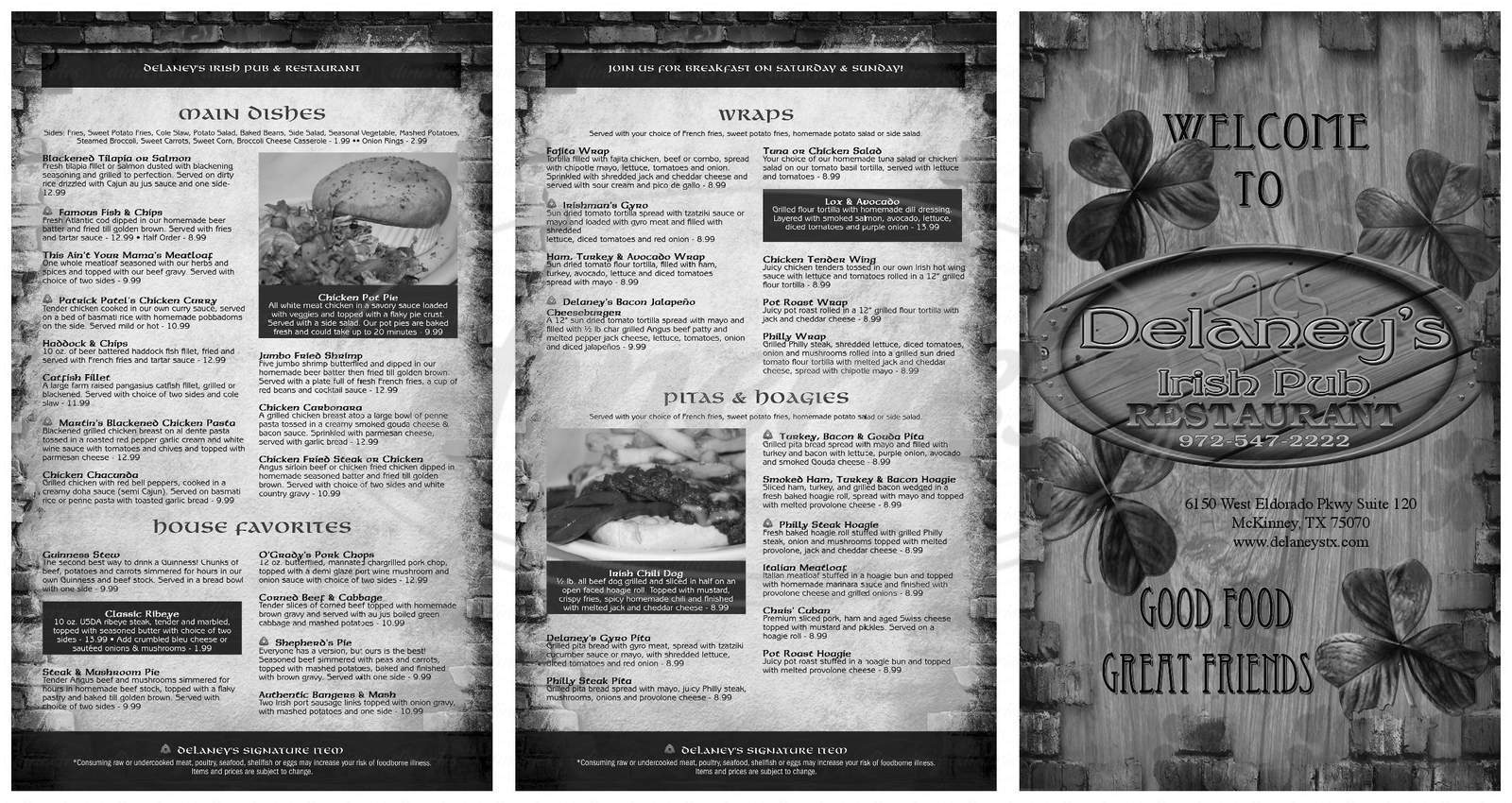 menu for Delaney's Irish Pub