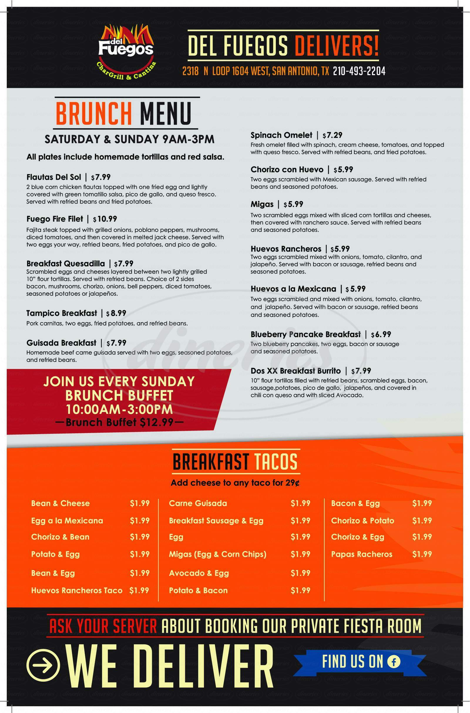 menu for Del Fuego's