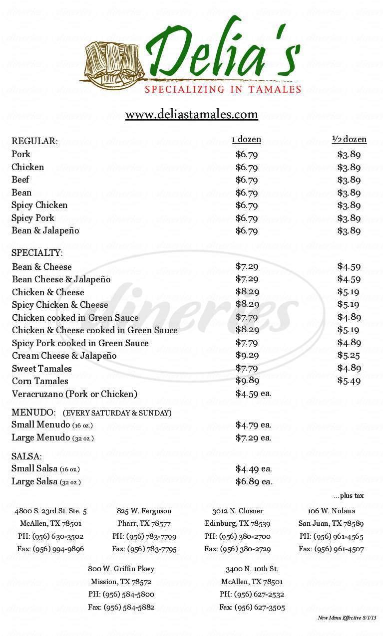 menu for Delia's