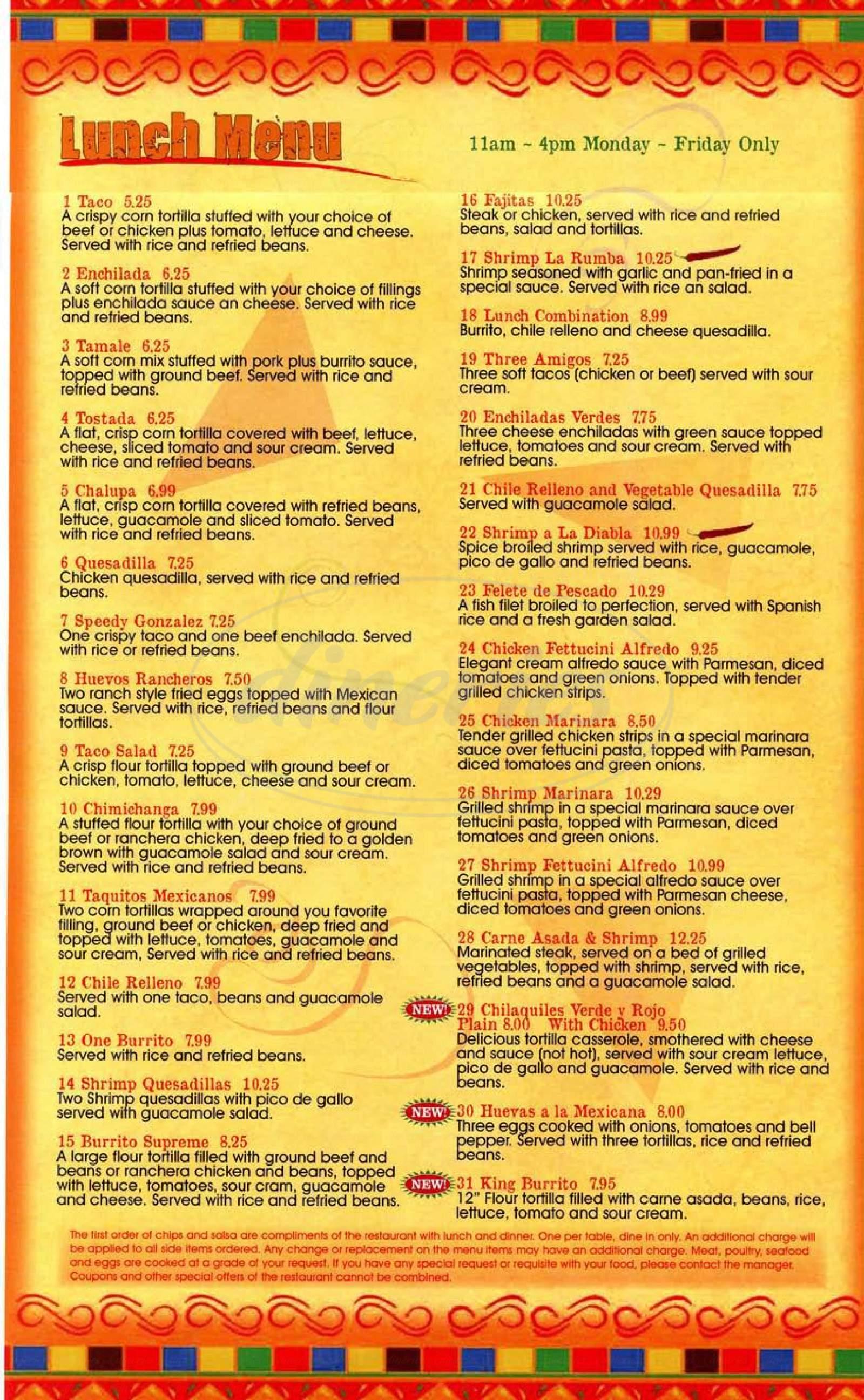 menu for La Rumba