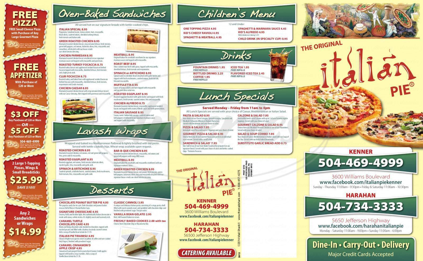 menu for The Original Italian Pie Harahan