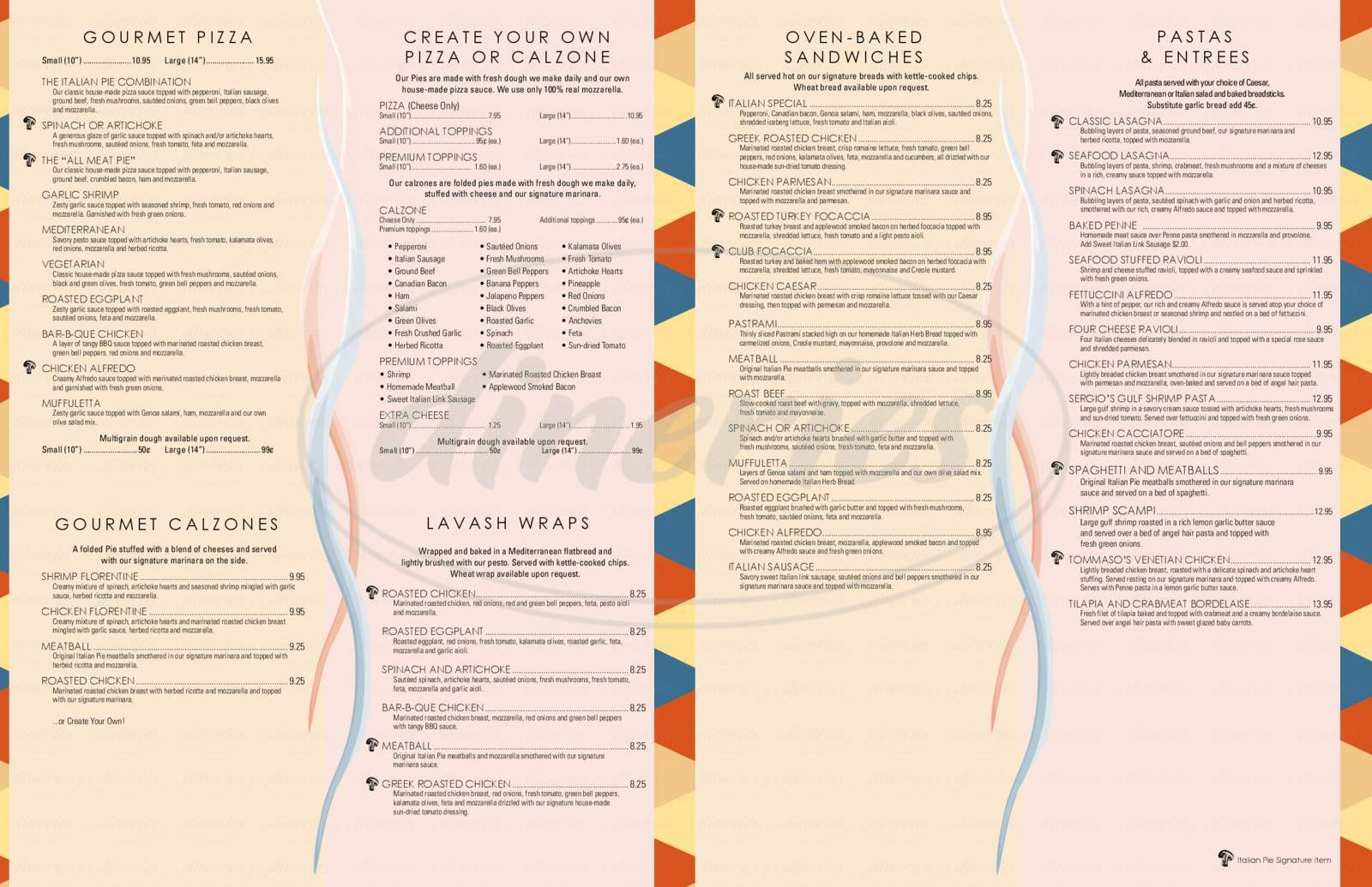 menu for Italian Pie Restaurant