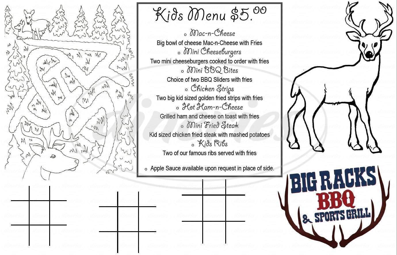 menu for Big Racks BBQ & Sports Grill