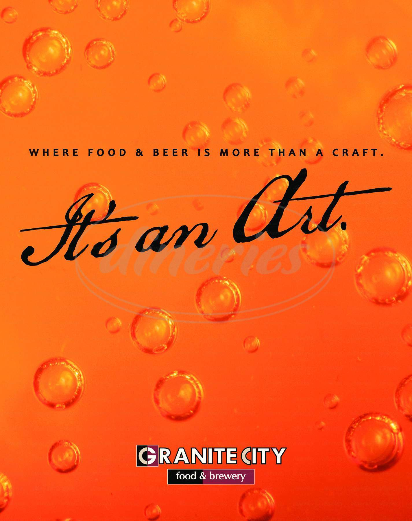 menu for Granite City Food and Brewery