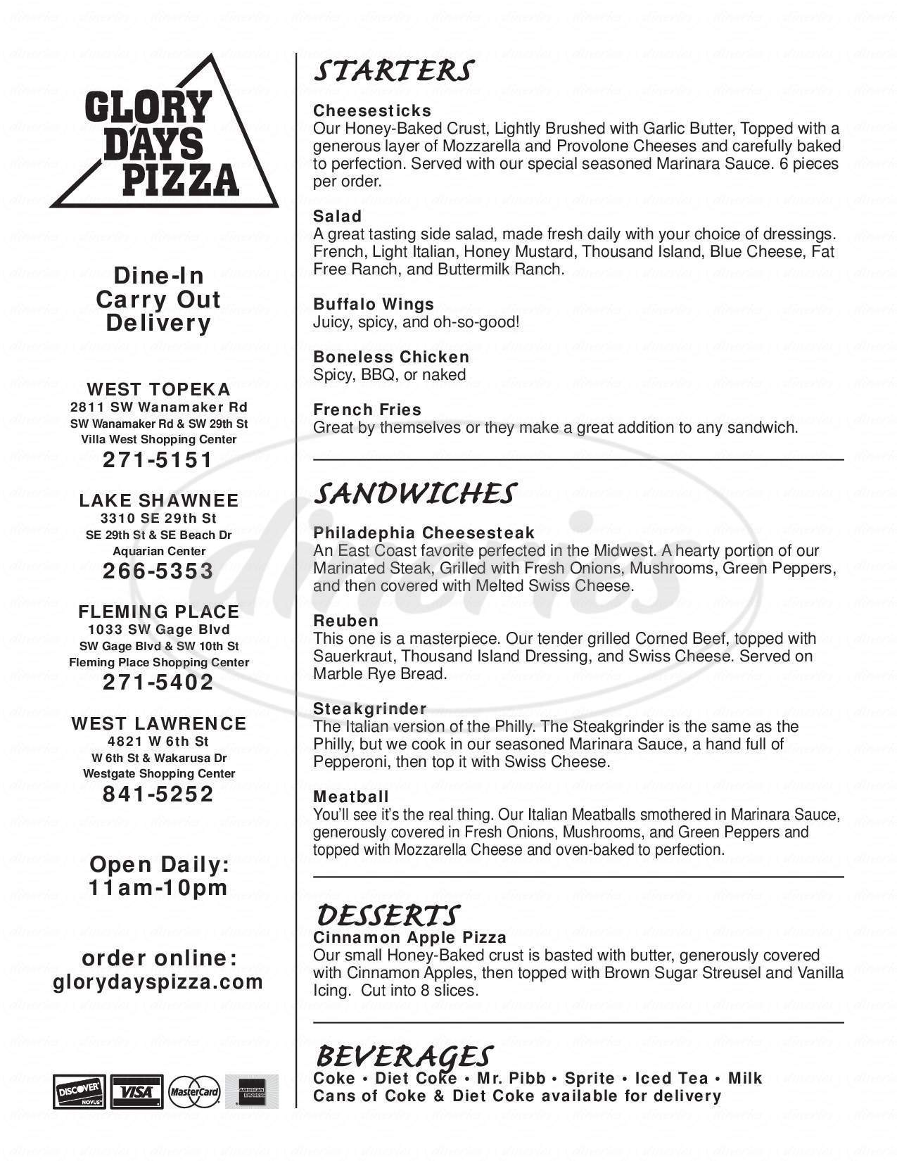 menu for Glory Days Pizza