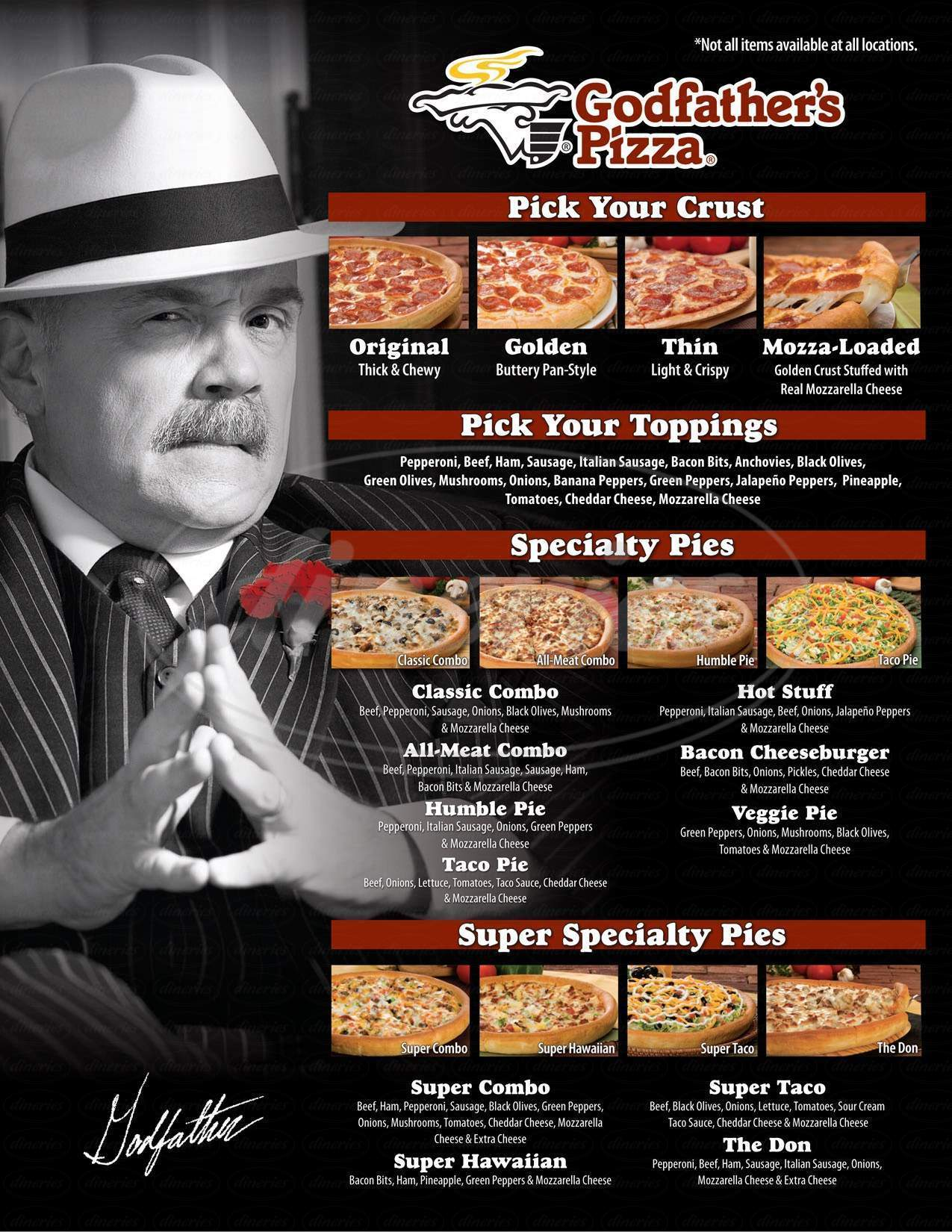 menu for Godfather's Pizza