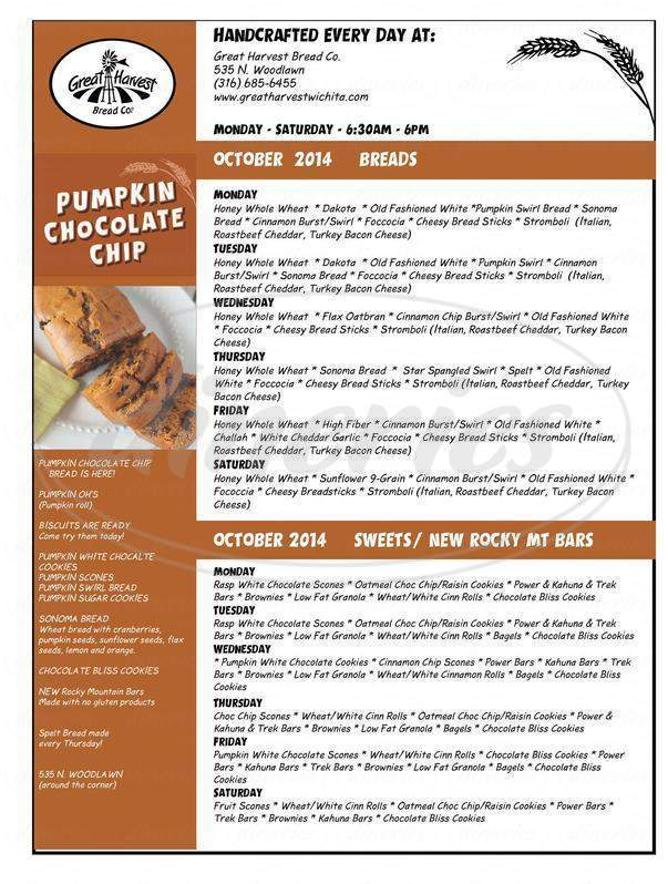menu for Great Harvest Bread Co