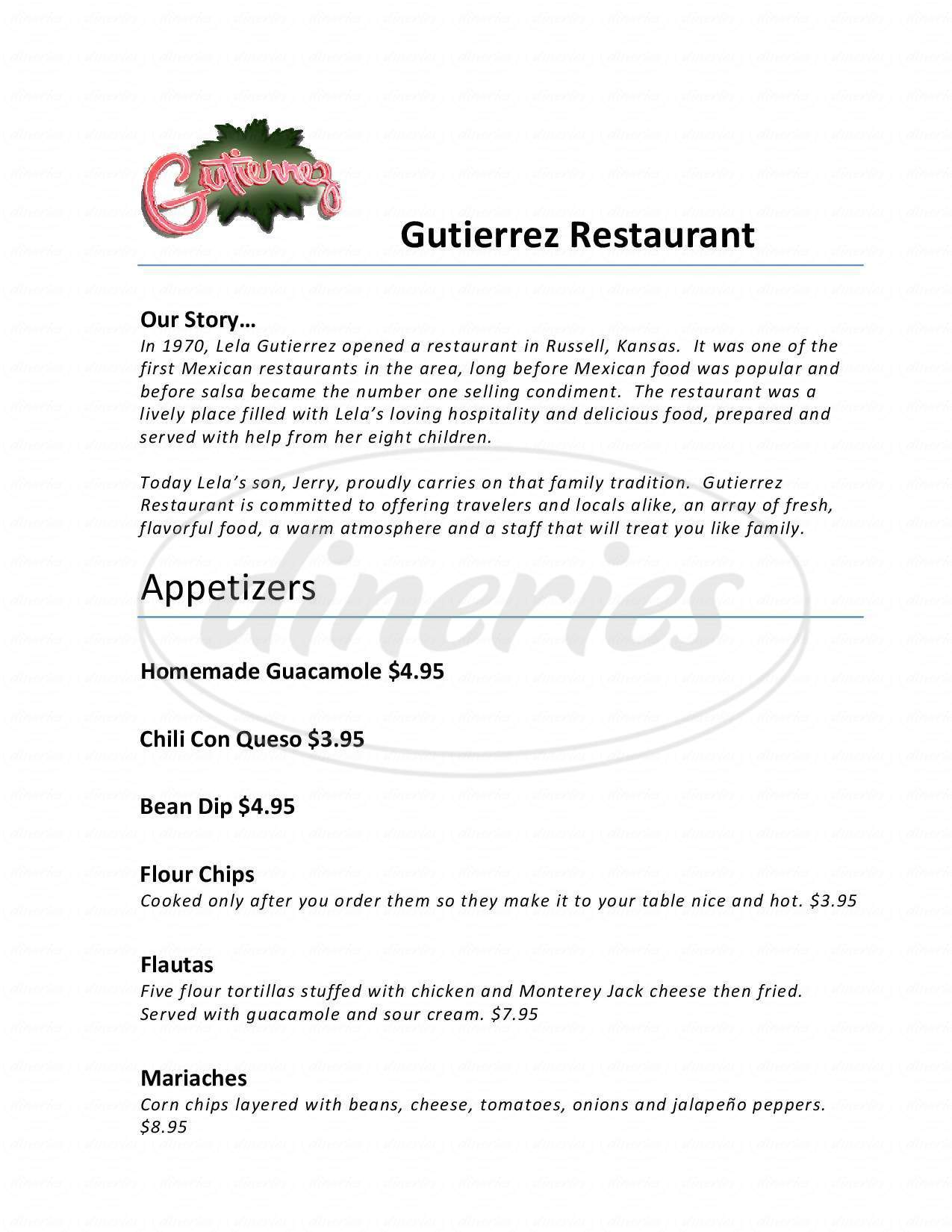 menu for Gutierrez Mexican Restaurant