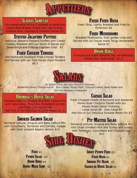 menu for Hayward's Pit Bar-B-Que