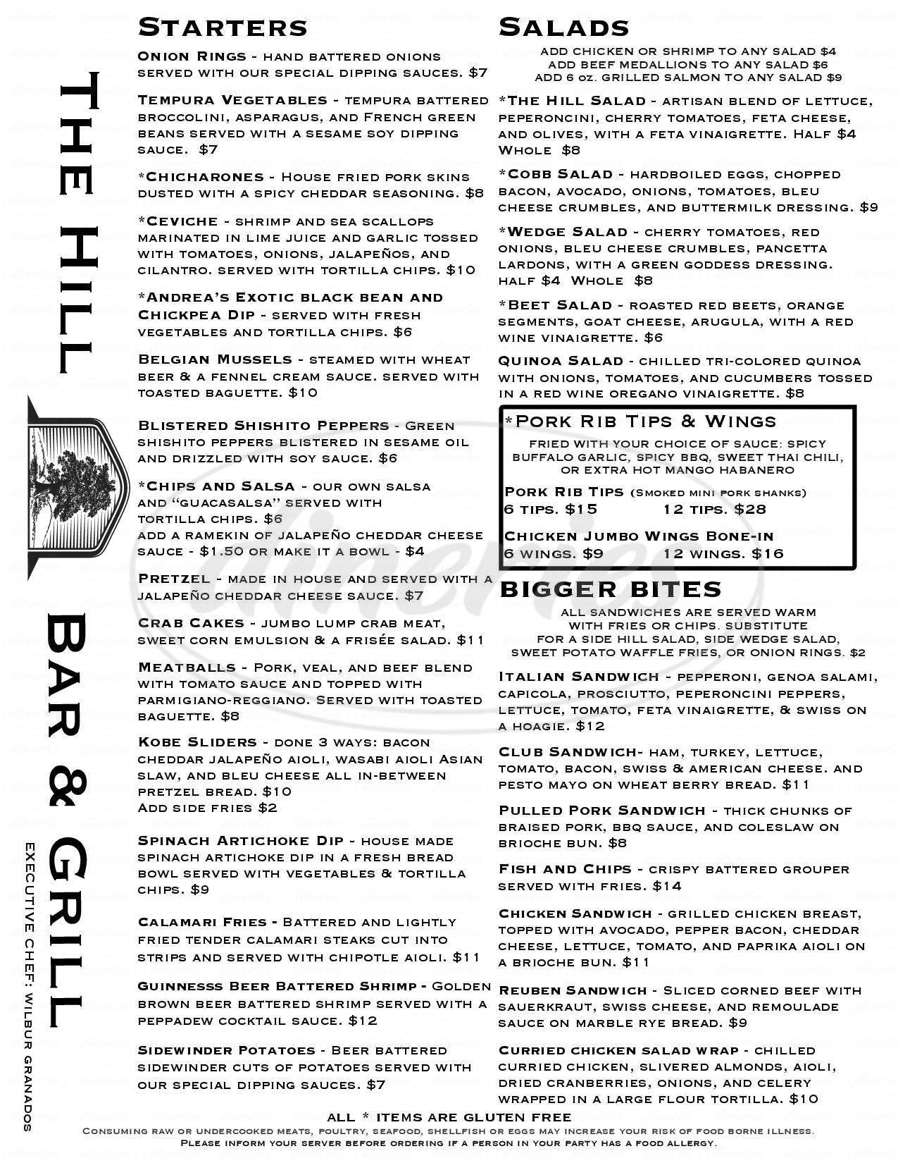 menu for The Hill Bar & Grill