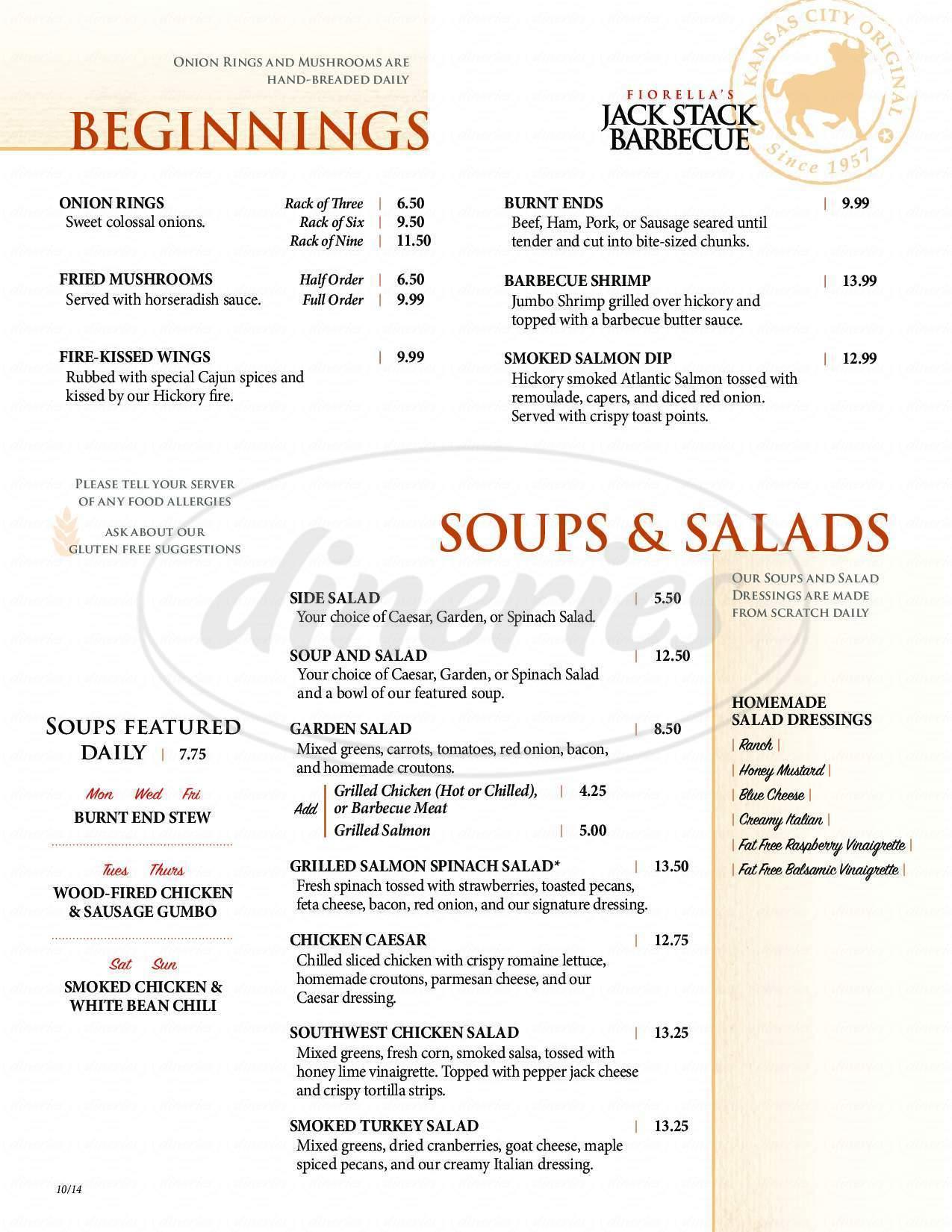 menu for Fiorella's Jack Stack Barbecue