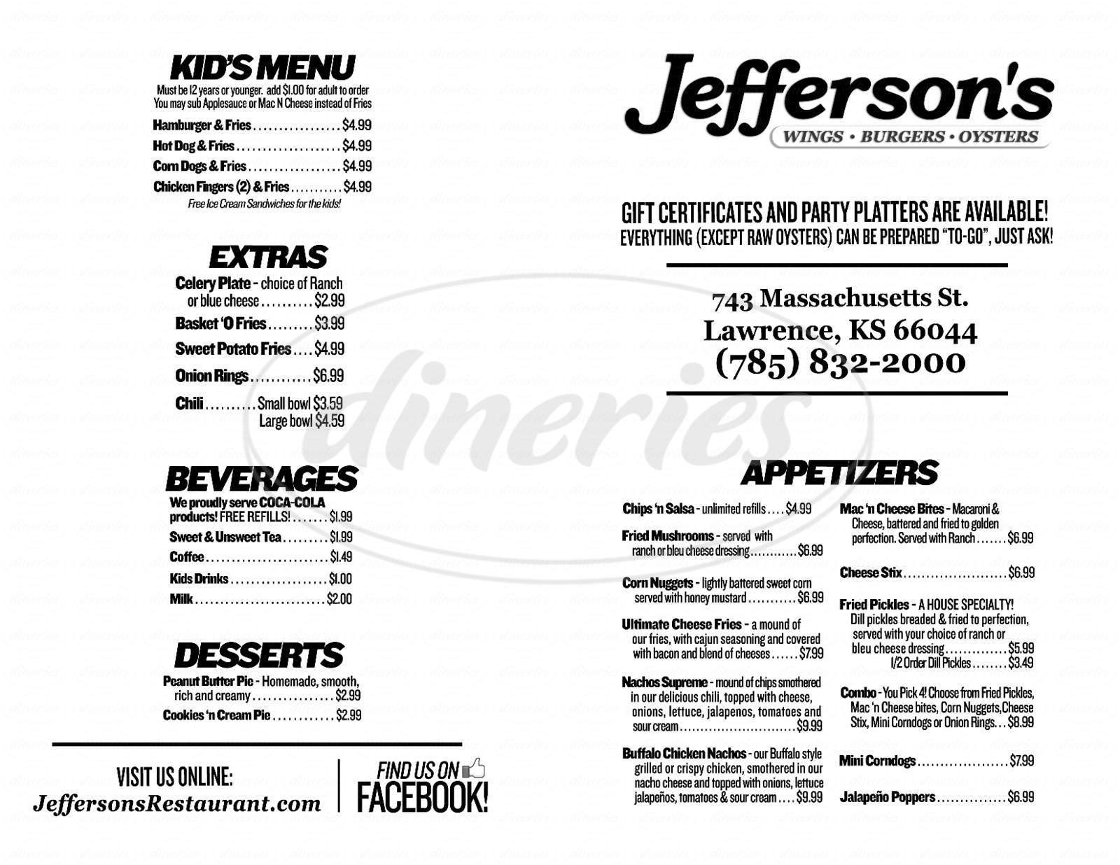 menu for Jefferson's Restaurant