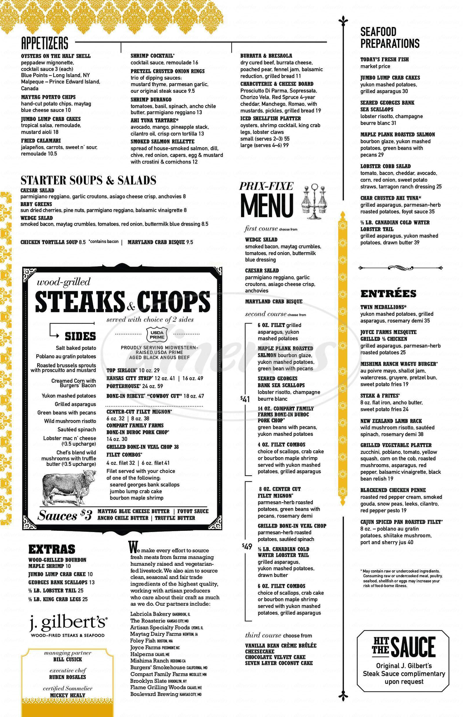 menu for J Gilbert's Wood Fired Steaks and Seafood