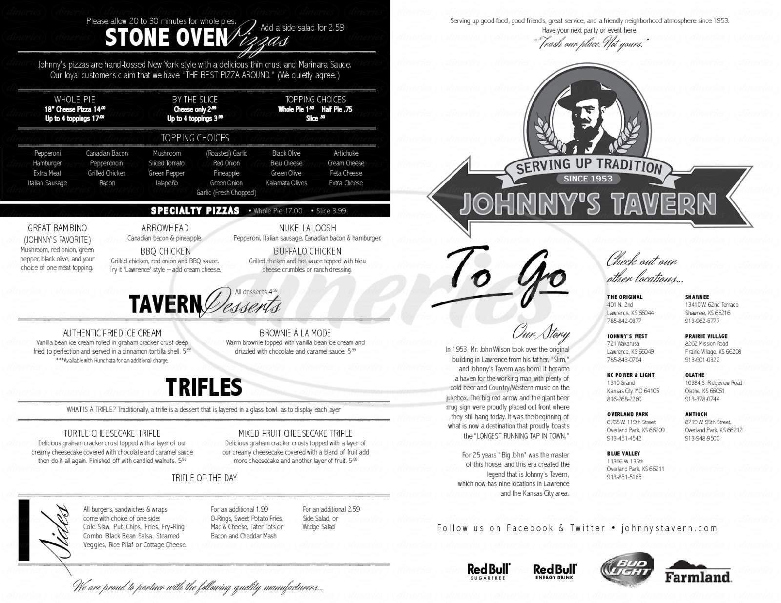 menu for Johnny's Tavern