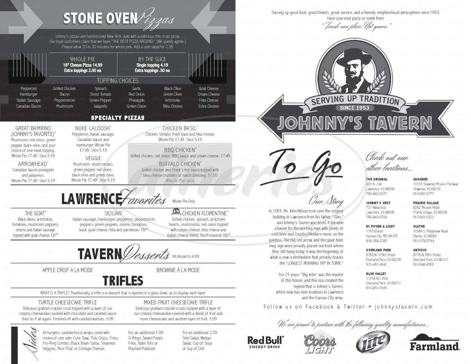 menu for Johnny's Tavern West