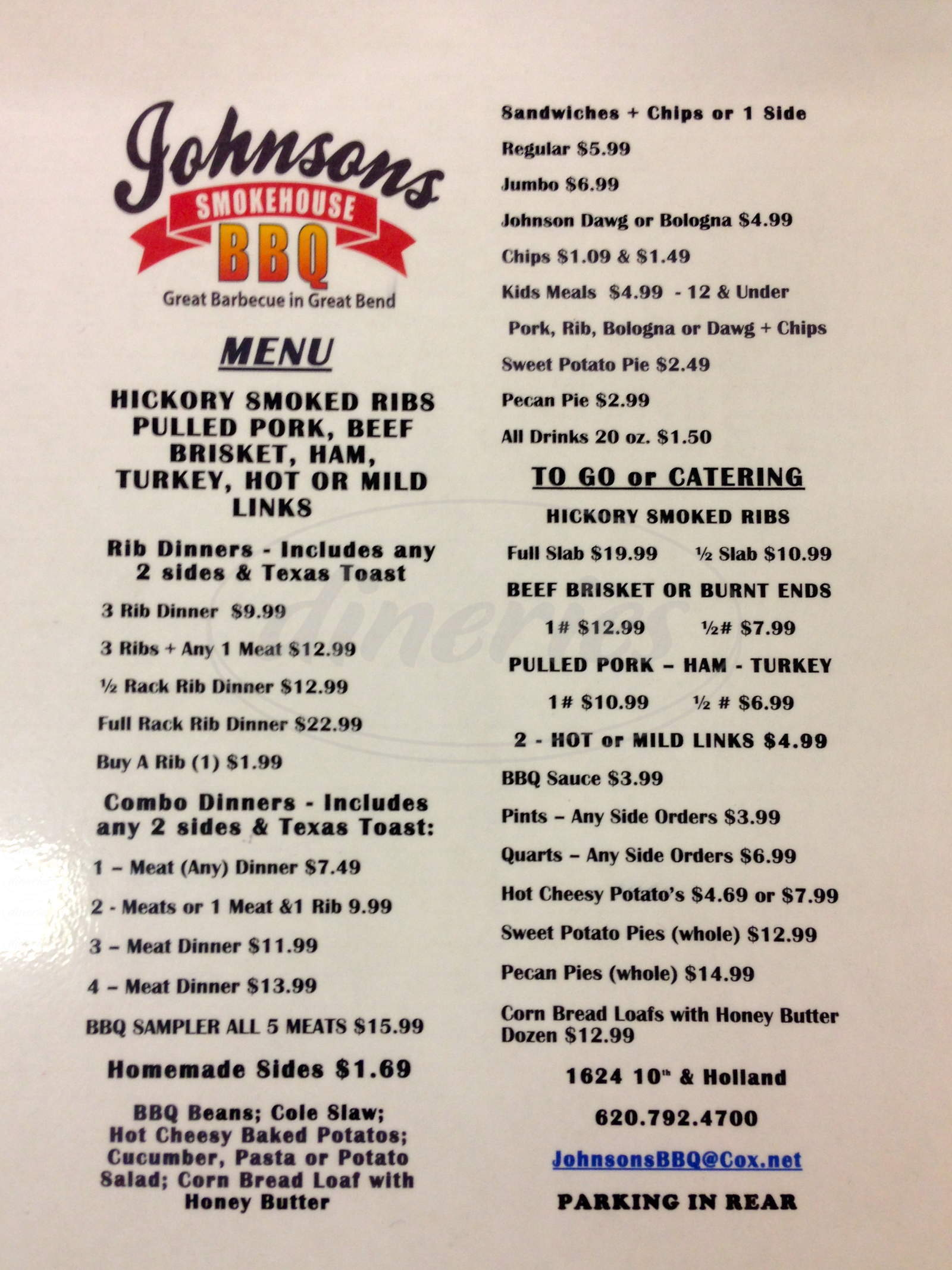 menu for Johnsons Smokehouse BBQ