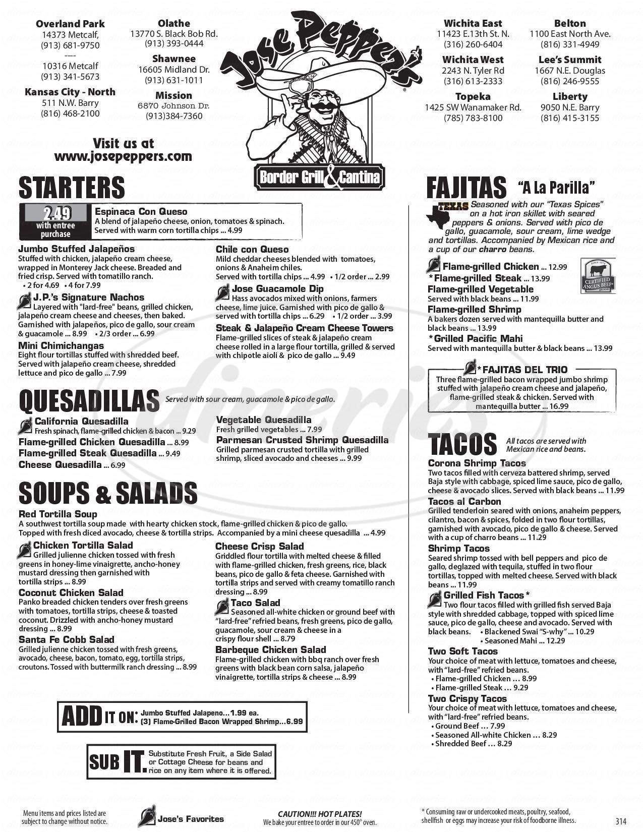 menu for Jose Pepper's