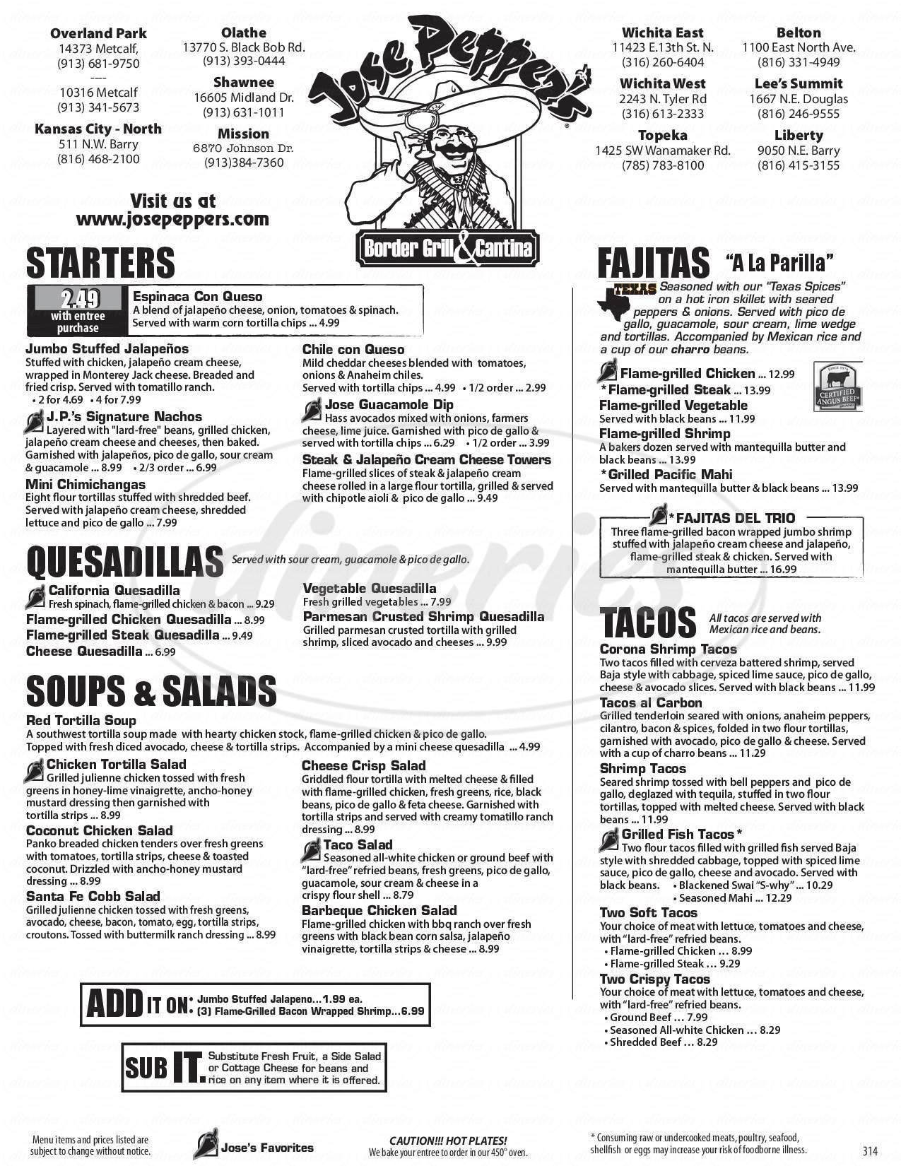 menu for Jose Pepper's
